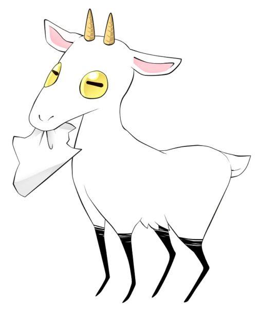 紙を食べるヤギ